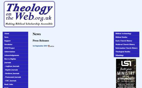 Screenshot of Press Page theologyontheweb.org.uk - Theology on the Web News - captured June 17, 2017