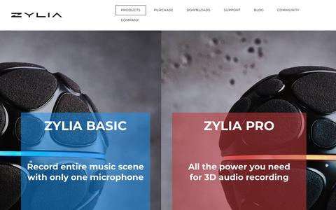 Screenshot of Products Page zylia.co - Products - ZYLIA Portable Recording Studio. Multi-track music recording with one mic. - captured July 11, 2018