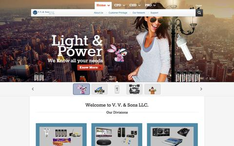 Screenshot of Home Page vvsons.com - VV & Sons - Consumer Products, Electronics & Professional Divisions, Bhatia Brothers - captured Oct. 7, 2014