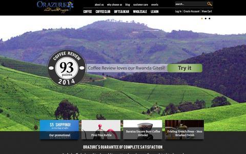 Screenshot of Home Page orazure.com - Fresh Coffee | Orazure Artisan Hand Roasted Coffees - captured Oct. 6, 2014