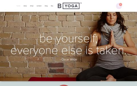Screenshot of Home Page byoganow.com - B Yoga l Makers of the B MAT - Essentials for everyday yoga - captured Jan. 28, 2015
