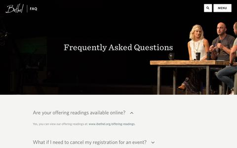 Screenshot of FAQ Page ibethel.org - FAQs Archive | Bethel Church - captured Feb. 7, 2016