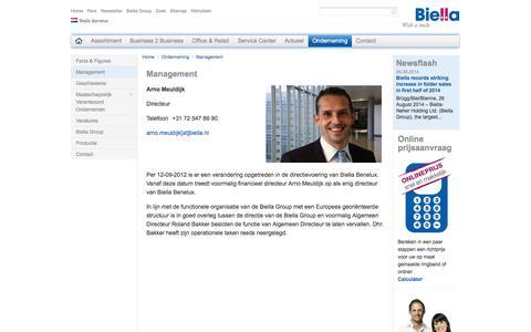 Screenshot of Team Page biella.nl - Biella Benelux Sales B.V. - Management - captured Oct. 5, 2014