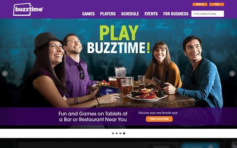 Screenshot of Home Page buzztime.com - Buzztime | Bar Trivia, Live Trivia, Cards & Sports Games - captured Dec. 26, 2015