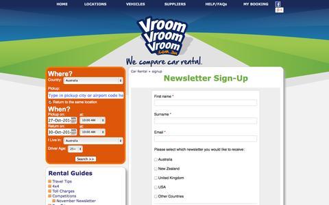 Screenshot of Signup Page vroomvroomvroom.com.au - VroomVroomVroom Newsletter Sign-Up - captured Oct. 26, 2014