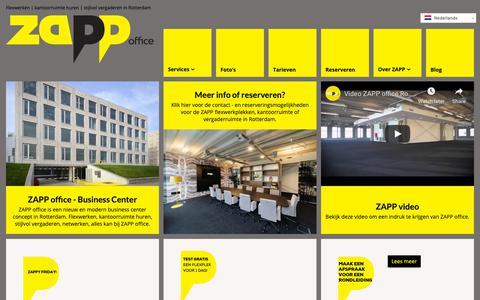 Screenshot of Home Page zappoffice.nl - Kantoor, flexplek of bedrijfsruimte huren in Rotterdam bij ZAPP office - captured Oct. 20, 2018