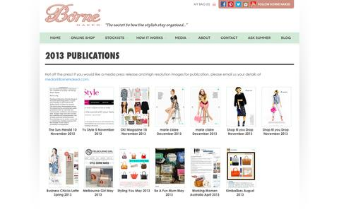 Screenshot of Press Page bornenaked.com - Borne Naked handbag organiser inserts in the Press 2013 | Borne Naked - captured Jan. 6, 2016