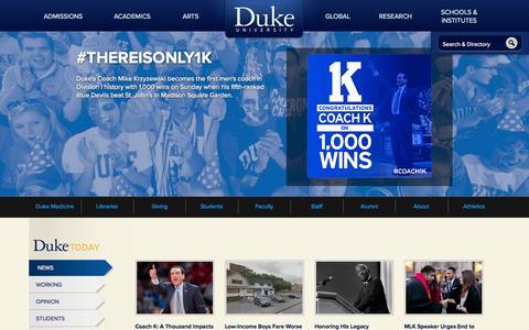 Screenshot of Home Page duke.edu - Duke University - captured Jan. 26, 2015