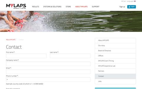 Screenshot of Contact Page mylaps.com - Contact - MYLAPS Sports Timing - captured Nov. 4, 2016