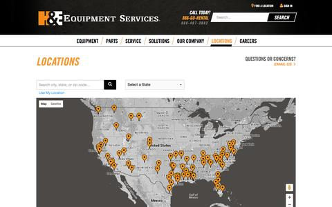 Screenshot of Locations Page he-equipment.com - Locations - H&E Equipment Services - captured Jan. 24, 2016