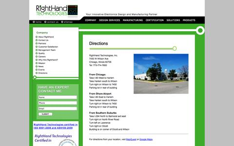 Screenshot of Maps & Directions Page righthandtech.com - RightHand Technologies - Directions - captured Oct. 26, 2014