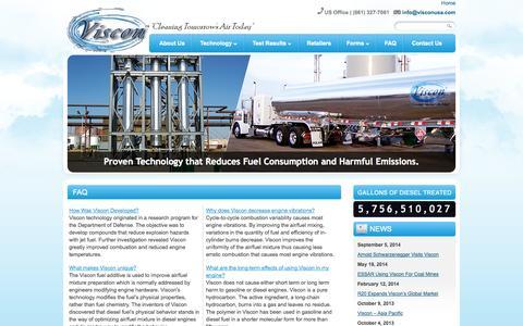 Screenshot of FAQ Page visconusa.com - Fuel Treatment: Fuel Additive, Carbon Footprint Reduction - Viscon  | - captured Oct. 7, 2014