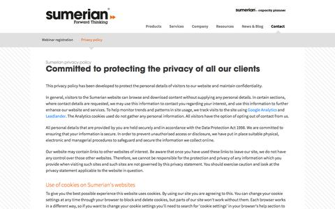 Screenshot of Privacy Page sumerian.com - Sumerian - Sumerian privacy policy - captured Sept. 17, 2014