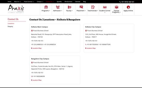Screenshot of Contact Page Locations Page praxis.ac.in - Contact-us | Best Business School Campus - Bangalore & Kolkata | Praxis Business School - captured Sept. 29, 2018