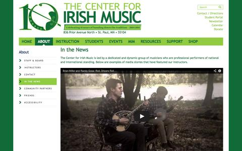 Screenshot of Press Page centerforirishmusic.org - In the News » The Center for Irish Music » dedicated to handing down the tradition - captured Oct. 7, 2014