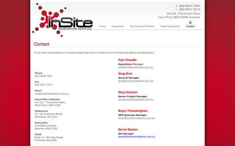 Screenshot of Contact Page insiteremediation.com.au - Insite Remediation Services - captured Oct. 6, 2014