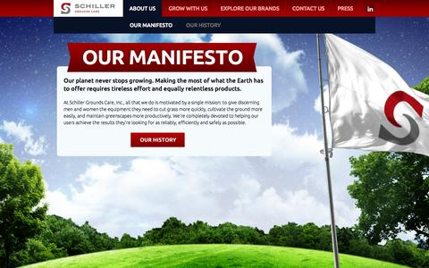 Screenshot of About Page schillergc.com - Our Manifesto | Schiller Grounds Care - captured Oct. 4, 2014