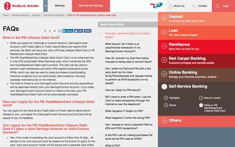 Screenshot of FAQ Page pbebank.com - Public Bank Berhad - FAQs on PB Visa/MasterCard Lifestyle Debit Card - captured Jan. 2, 2017