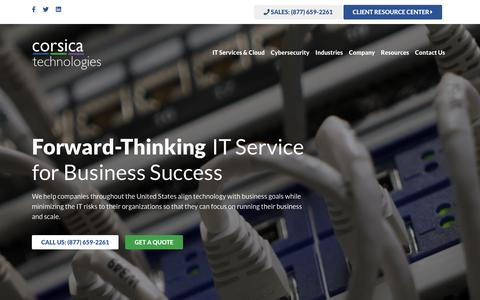 Screenshot of Home Page corsicatech.com - Corsica Technlogies | Expert IT Services for Business - captured July 11, 2019