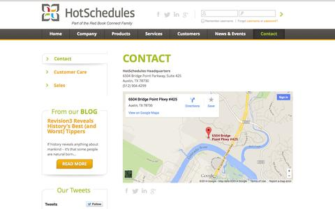 Screenshot of Contact Page hotschedules.com - Contact HotSchedules - captured Sept. 18, 2014