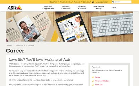 Screenshot of Jobs Page axis.com - Career | Axis Communications - captured June 18, 2016