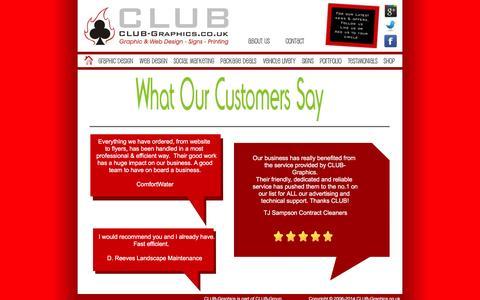 Screenshot of Testimonials Page club-graphics.co.uk - CLUB-Graphics - Testimonials - captured Dec. 5, 2015