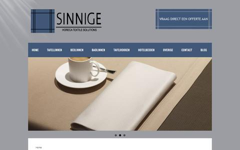 Screenshot of Home Page sinnigebv.nl - Sinnige BV: Horeca textiel en linnen in Nederland - captured Sept. 12, 2015