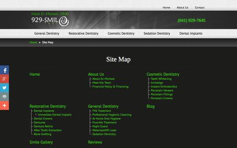 Screenshot of Site Map Page sarasotadentistry.com - Site Map - Hank Michael, DMD - captured Oct. 9, 2014