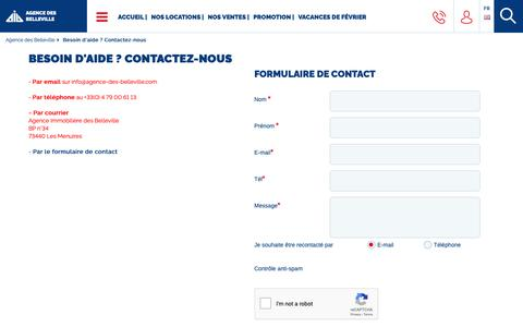 Screenshot of Contact Page agence-des-belleville.com - Agence des Belleville : Contactez-nous - captured Oct. 22, 2018