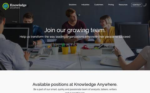 Screenshot of Jobs Page knowledgeanywhere.com - Knowledge Anywhere :: Careers at Knowledge Anywhere :: Join our growing team. - captured Jan. 9, 2016