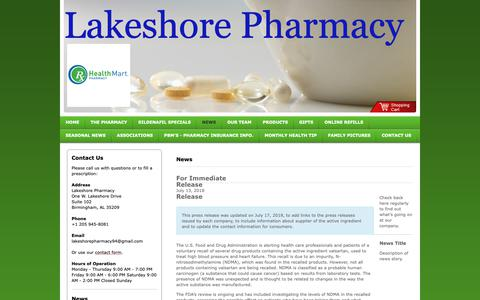Screenshot of Press Page lakeshorepharmacy.com - Lakeshore Pharmacy - News - captured Nov. 4, 2018