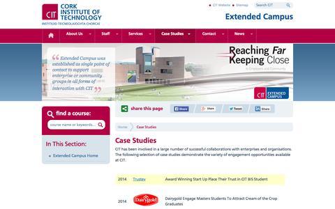 Screenshot of Case Studies Page cit.ie - CIT Extended Campus - Case Studies - captured Nov. 2, 2014