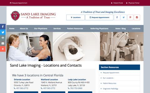 Screenshot of Contact Page Locations Page sandlakeimaging.com - About Sand Lake Imaging of Orlando, FL * American College of Radiology Accredited Facility * Diagnostic Imaging * Interventional Radiology * Orlando * Maitland * Lady Lake, FL - captured Dec. 17, 2016