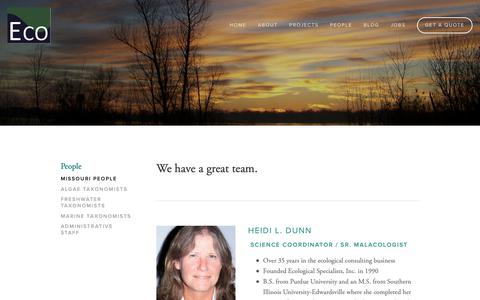 Screenshot of Team Page ecologicalspecialists.com - Missouri People — Ecological Specialists, Inc. - captured Feb. 18, 2019