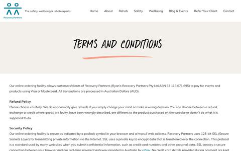 Screenshot of Terms Page rrp.com.au - Terms and Conditions | Recovery Partners - captured Jan. 20, 2020