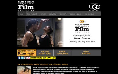 Screenshot of Home Page sbiff.org - Santa Barbara International Film Festival — January 27th – February 7th, 2015 - captured Oct. 4, 2014