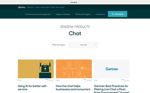 Screenshot of Support Page zendesk.com - Chat | Zendesk Library - captured Aug. 4, 2018