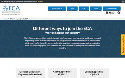 Screenshot of Signup Page eca.co.uk - Different ways to join the ECA - captured Nov. 25, 2016