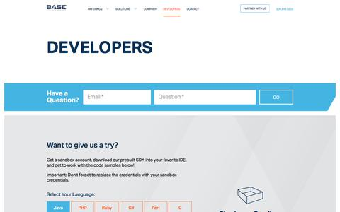 Screenshot of Developers Page basecommerce.com - Prebuilt SDKs for Developers & ISVs – Base Commerce - captured June 6, 2017