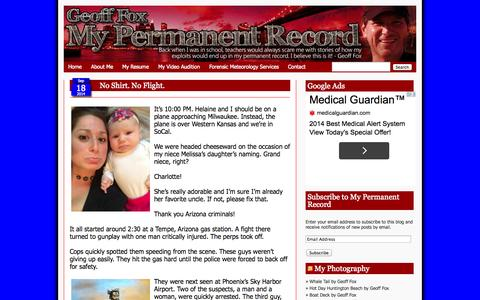 Screenshot of Home Page geofffox.com - Geoff Fox: My Permanent Record - captured Sept. 19, 2014