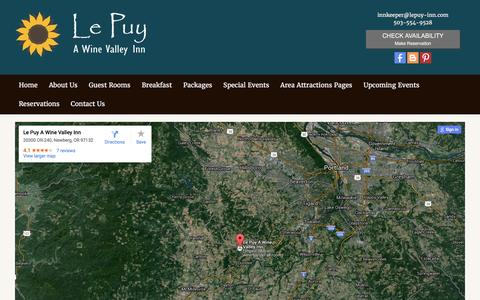 Screenshot of Contact Page lepuy-inn.com - Contact Us - Newberg Bed and Breakfast | Le Puy A Wine Valley Inn - captured Jan. 27, 2016