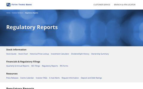 Regulatory Reports | Fifth Third Bank