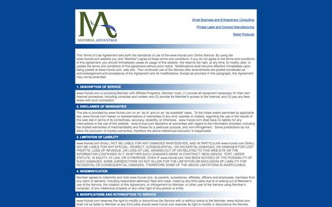 Screenshot of Terms Page hulvat.com - 2020 Consulting   Small Business and Entrepreneur Consulting   Contract Manufacturing and Private Label   Retail Products - captured Oct. 27, 2014