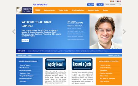 Screenshot of Home Page allstatecapital.com - Equipment Leasing | Equipment Financing | SBA Loans | Funding Source | Start Ups | Fitness Leasing | Factoring |  New Business | Leasing | Financing | Direct Capital Source - captured Oct. 4, 2014