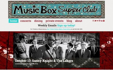 Screenshot of Home Page musicboxcle.com - Music Box Supper Club - captured Oct. 7, 2014
