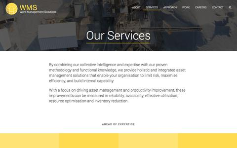 Screenshot of Services Page workmanagementsolutions.com.au - Our Services | Work Management Solutions - captured Aug. 14, 2016