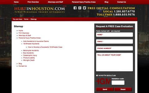 Screenshot of Site Map Page hurtinhouston.com - Sitemap - captured Nov. 18, 2016
