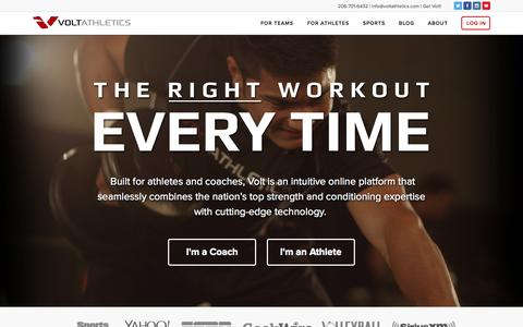 Screenshot of Home Page voltathletics.com - Volt Athletics - captured Sept. 3, 2015