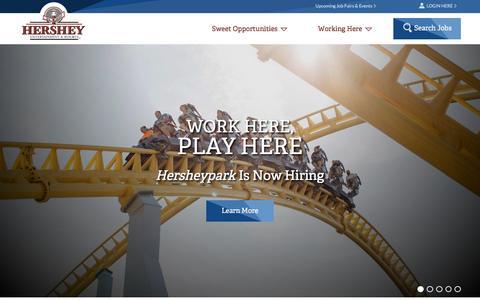 Screenshot of Home Page hersheyjobs.com - Hershey Entertainment & Resorts | Hershey Jobs - captured Aug. 27, 2016
