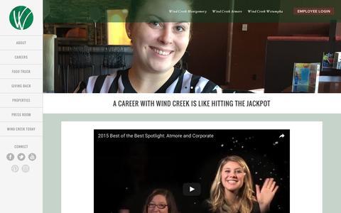 Screenshot of Jobs Page windcreekhospitality.com - Careers - Wind Creek Hospitality - captured Aug. 11, 2016